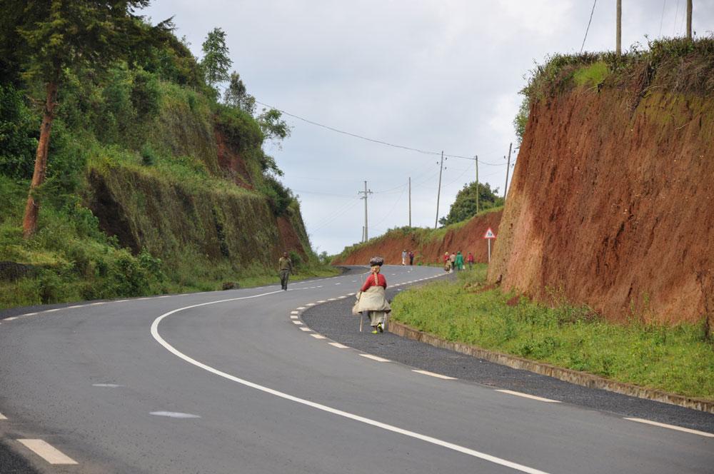Röd sand överallt, vägen går genom teplantagen mot regnskogen